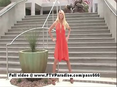 Cool lady Brynn light-haired babe public flashing hooters and posing hooters