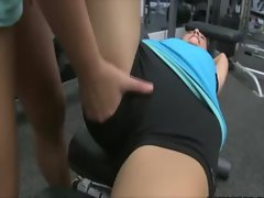 Lesbians please their twats at the gym