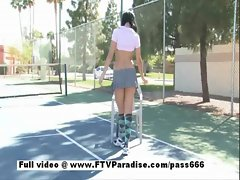 Cool chick Shanel dark haired sensual young woman masturbating outdoor in a public setting