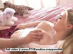 Cool girlie Alison big titted light-haired lassie gets knockers massage