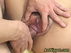 Asian Lass Caresses and Gets double Grinding