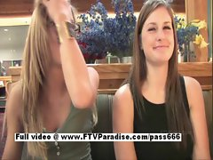 Leslie and Danielle charming lesbo raunchy teen ladies talking at restaurant