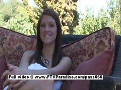 Gabby charming long hair redhead babe outdoor posing