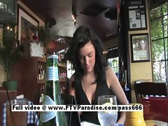 Brianne perfect dark haired tempting chick showing hooters at the restaurant