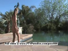 Alanna charming perfect light-haired young woman naked in the pool