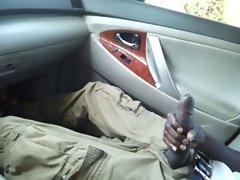 Enormous ebony pecker Jacking In Car