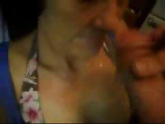 Excellent facial on filthy granny. Perfect amateur elder