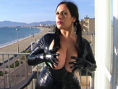 HD Latex Leggins And Dress With Gloves Holiday Dick sucking