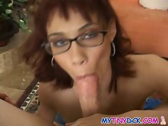 Sensual girl gets a facial with her glasses on