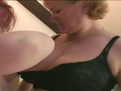 two obese housewifes butch on bed