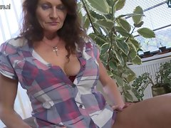 Big breasted granny getting moist and mad