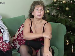 Experienced English married woman being wild on her couch