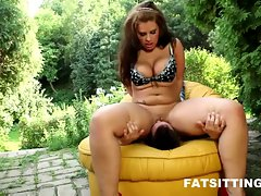 Thick domina Marta face-sitting her male slave
