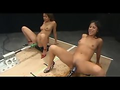 Randy chicks squirting giant loads on Screwing Machines