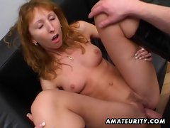 Redhead amateur Mum double blowjob, anus and double facial