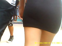 Brazilian cutie with her boy walking in black skirt...