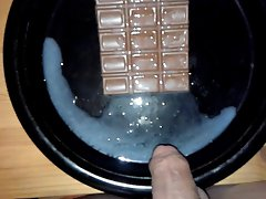 Big cumshot (16 spurts) onto a chocolate bar