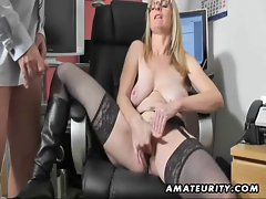 Buxom amateur Filthy bitch strokes and bangs with cum on boots