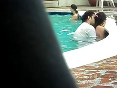 Colombian Couple Banging Into The Pool