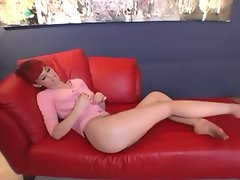 Diminutive redhead toe stroking pantyhose fetish