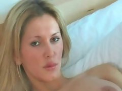 Luscious blond with big fake penis