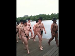 Elder Men in Thong Swimsuits