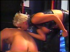 Blond mistress spanks fellow