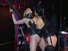 Bombshell with a gorgeous rack being pleasured by her mistress