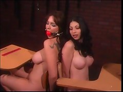 2 smoking filthy big melons slave lasses taken care of by their luscious mistress