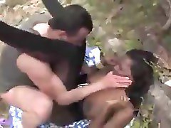 French Black Girl fuck spanish guy on ruins
