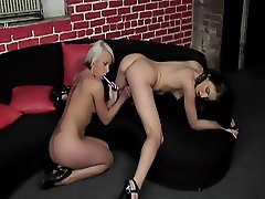 Lesbian play with a vibrator