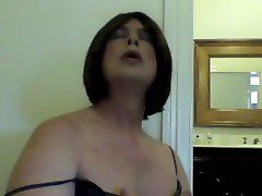 Sissy girl plays with her titties