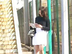 Public upskirt before a roughly anal scene for a brunette
