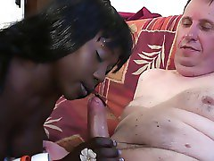 Young hot black girl fucking an old white guy