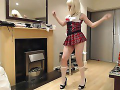 Young Crossdresser Tartan Schoolgirl Uniform