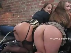 Master masturbates while slaves share toy in their asses before h