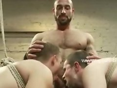 Strong gay man with perfect greek body enjoys spanking of slaves