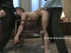 Delicious babe made to submit to pervert men in threesome bdsm