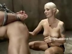 Blonde busty slut riding cock in femdom