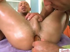 Hot stud getting oiled and ass filled with vibrator part1