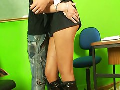 Latin shemale teacher bareback anal