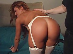 Hot brunette hard spanking by master