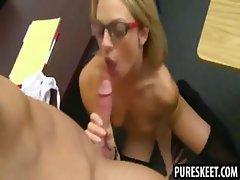 Foxy blonde in glasses sucks and fucks her teacher
