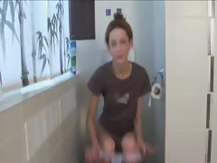 Extremely cute gaunt girl peeing