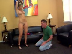 Two blondes assworshiped by their slaves