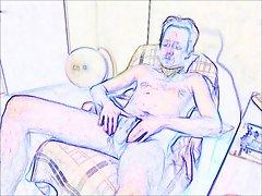 18 Zeichnung drawing Schwuler nackter Mann zeigt webcam