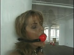 Hot blonde gets bounded and ball gag placed in her mouth