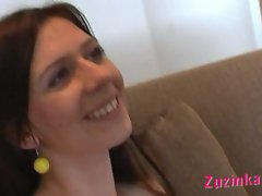 Fervent real first time casting with lewd skinny brunette czech