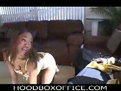 Hot ebony babe seduces horny dude in lingerie
