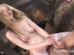 Horny blonde jerks off a hard cock